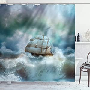 Ambesonne Ocean Shower Curtain, Majestic Nautical Sealife and Pirate Boat Ship on a Wavy Deep Sea Art Print, Cloth Fabric Bathroom Decor Set with Hooks, 70