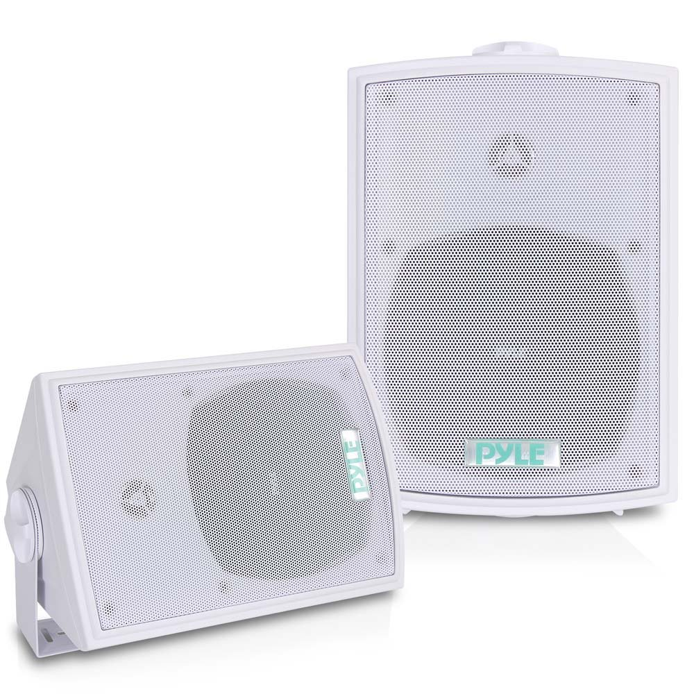 Dual Waterproof Outdoor Speaker System - 5.25 Inch Pair of Weatherproof Wall or Ceiling Mounted White Speakers w/Heavy Duty Grill, Universal Mount - For Use in the Pool, Patio or Indoor - Pyle PDWR53 by Pyle