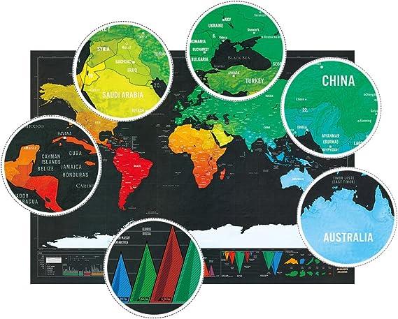motglobal pequeño tamaño 42 × 29 cm edición de viaje mundial para rascar Mapa Póster Tracker mapa, color mapamundi 42×29cm: Amazon.es: Oficina y papelería