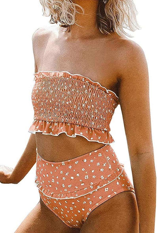 JFan Floral Tubo Plisado Superior para Mujer Traje de Ba/ño Dividido Floral con Volantes de Las Cintura Alta de Dos Piezas Bikini Tubo Brasile/ños Ba/ñador Ropa de Bano