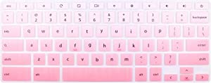 """Silicone Keyboard Skin for 13.3"""" Dell Chromebook 13 3380 & 11.6"""" Dell Chromebook 3100 C3181 3120 3180 3181 3189 5190 (Not fit Dell Chromebook 14 C7486 &Dell Inspiron 11 3180 Windows laptop- Pink Ombre"""