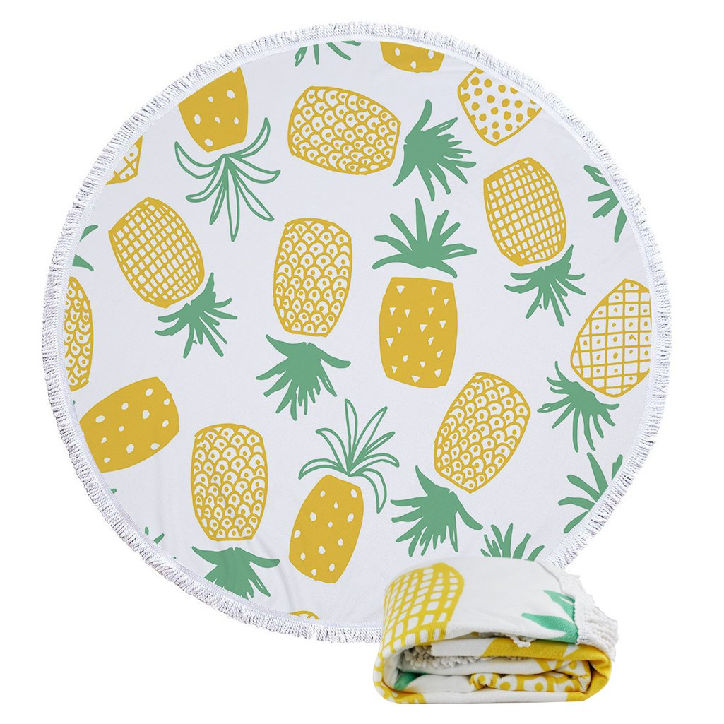 Beach Towels Oversized Round Roundie Tropical Pineapple Indian Mandala Yoga Picnic Mat Wall Hanging Tablecloth Decorations With Fringe Tassels