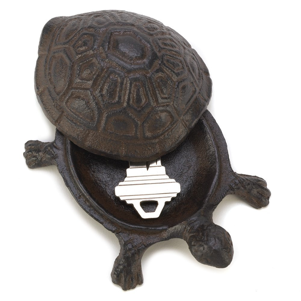 Summerfield Terrace House Key Hider, Metal Cast Iron Turtle Statue Spare Key Hiders Outside