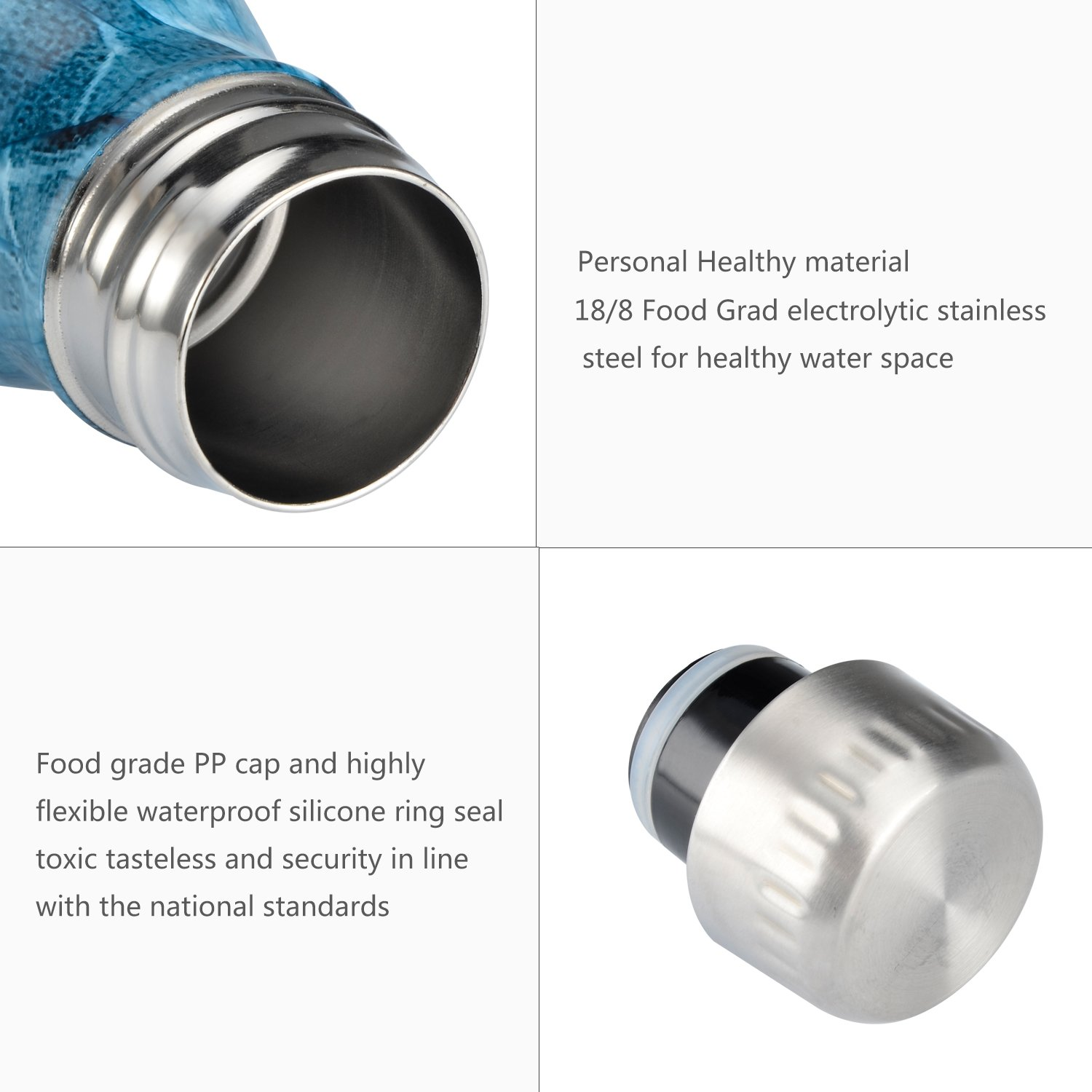 JunliGarden Bpa Free Stainless Steel Bottles Water Bottle With For Outside Sports Activity Eco Friendly Drinks Bottle For Running Gym Cycling