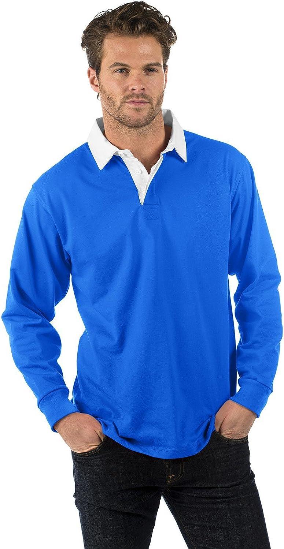 Bruntwood Prima Manga Larga Camisa de Rugby Algod/ón//Poli/éster Premium Long Sleeve Rugby Shirt 280GSM Hombre y Mujer