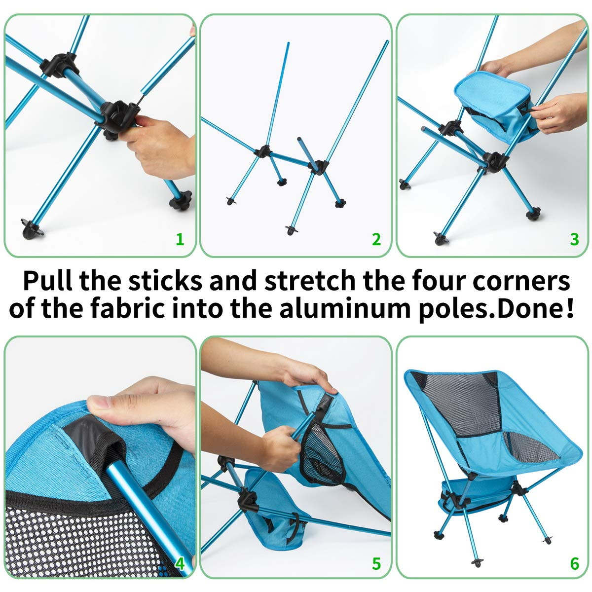 Beach Chair Portable and Lightweight Folding Backpacking Chairs with Carry Bag Outdoor Folding Chairs and Lightweight Folding Backpacking Chairs with Carry Bag Black OIKA Camping Chairs for Adults