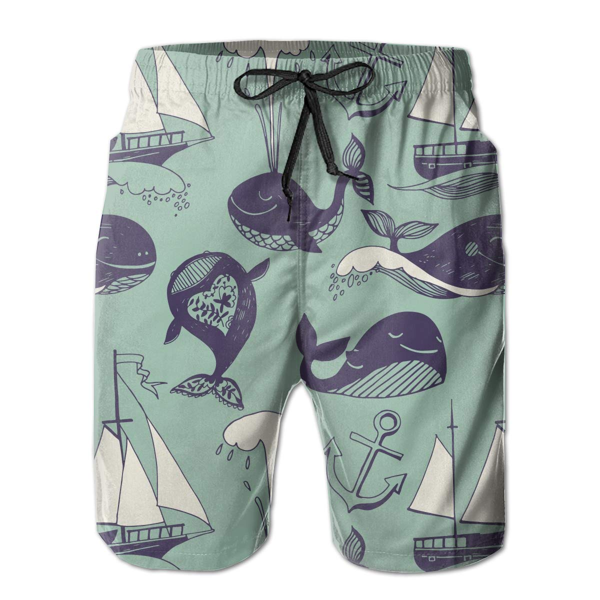 FASUWAVE Mens Swim Trunks Funny Whales Yachts Quick Dry Beach Board Shorts with Mesh Lining