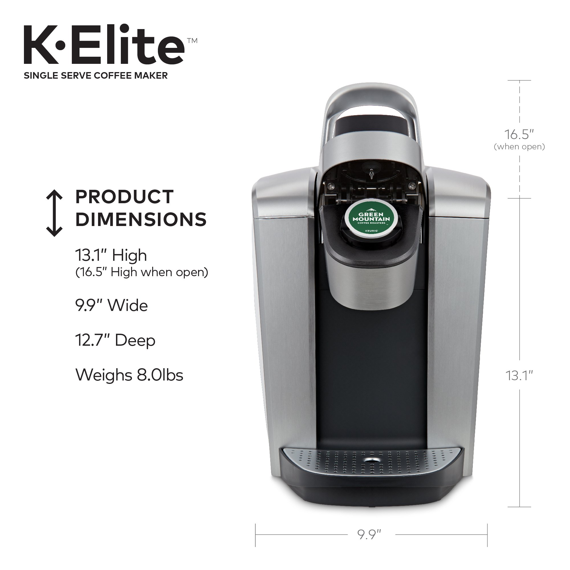 Keurig K-Elite K Single Serve K-Cup Pod Maker, with Strong Temperature Control, Iced Coffee Capability, 12oz Brew Size, Programmable, Brushed Silver by Keurig (Image #8)