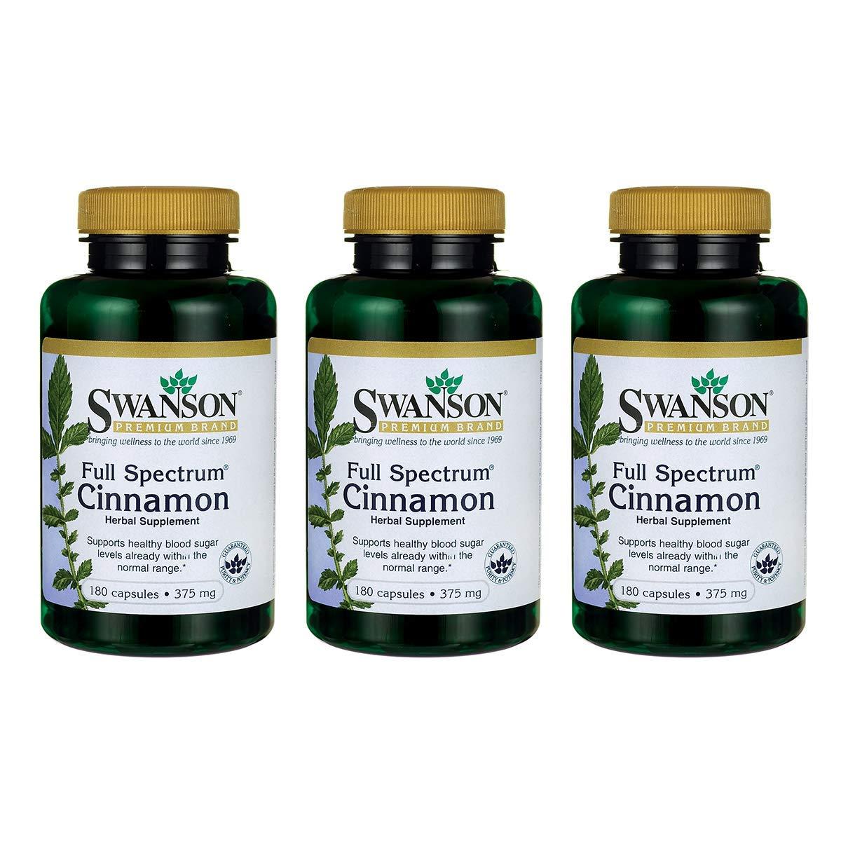 Swanson Cinnamon Cardiovascular Healthy Blood Sugar Glucose Levels Metabolic Support Cinnamomum Cassia (bark) Herbal Supplement 375 mg (700 mg per 2 Capsule Serving) 180 Capsules (Caps) (3 Pack)