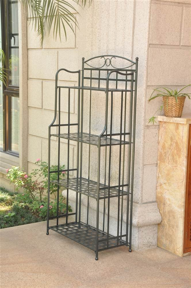 International Caravan Folding Bakers Rack in Verdigris