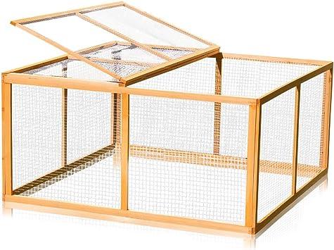 Melko® - Jaula para liebres, tamaño XXL, con zona exterior, aprox. 120 x 120 x 59 cm, de madera: Amazon.es: Productos para mascotas