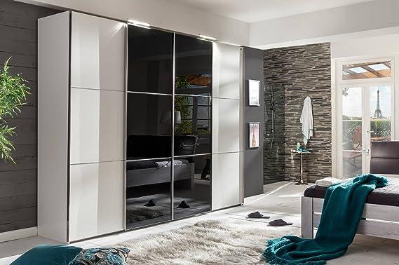 4 De TRG. Armario de puertas correderas en color blanco con 2 puertas correderas de cristal en color negro Incluye sincronización de apertura, dimensiones: B/H/T aprox. 350/236/65 cm: Amazon.es: Hogar
