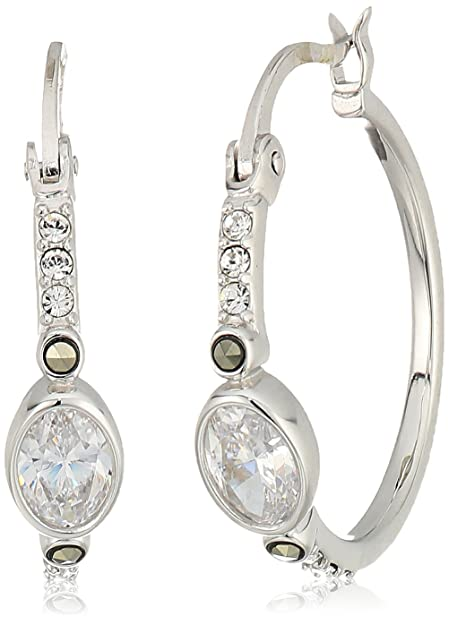 3030b51e8 Judith Jack Sterling Silver with Swarovski Marcasite Hoop Earrings:  Amazon.ca: Jewelry