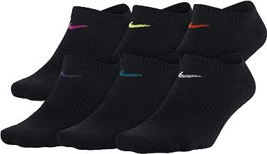 Sierra Espolvorear lona  Amazon.com: Nike - Calcetines ligeros para mujer (6 pares), Negro, M:  Clothing