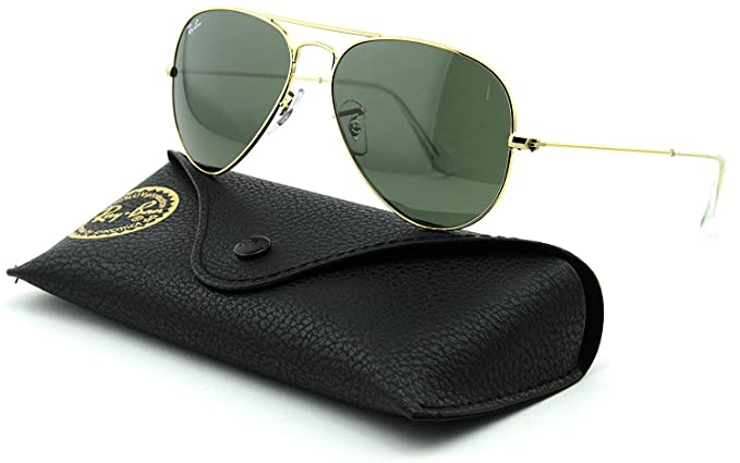 Ray-Ban RB3025 Aviator Large Metal Unisex Aviator Sunglasses (Gold Frame   Grey Green Lens W3234, 55)  Amazon.co.uk  Clothing 0f1350ed3a
