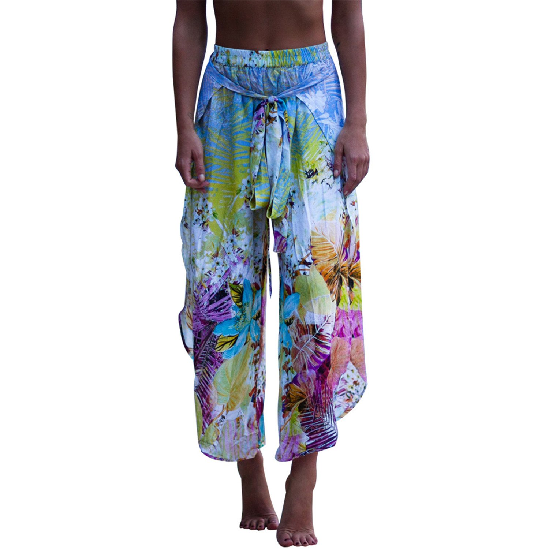 d8c9cf170c Amazon.com: Reedbler Sexy Side Split Wide Leg Pants Women Boho Summer Beach  Floral Print Long Pants Elastic High Waist Casual Pants: Clothing