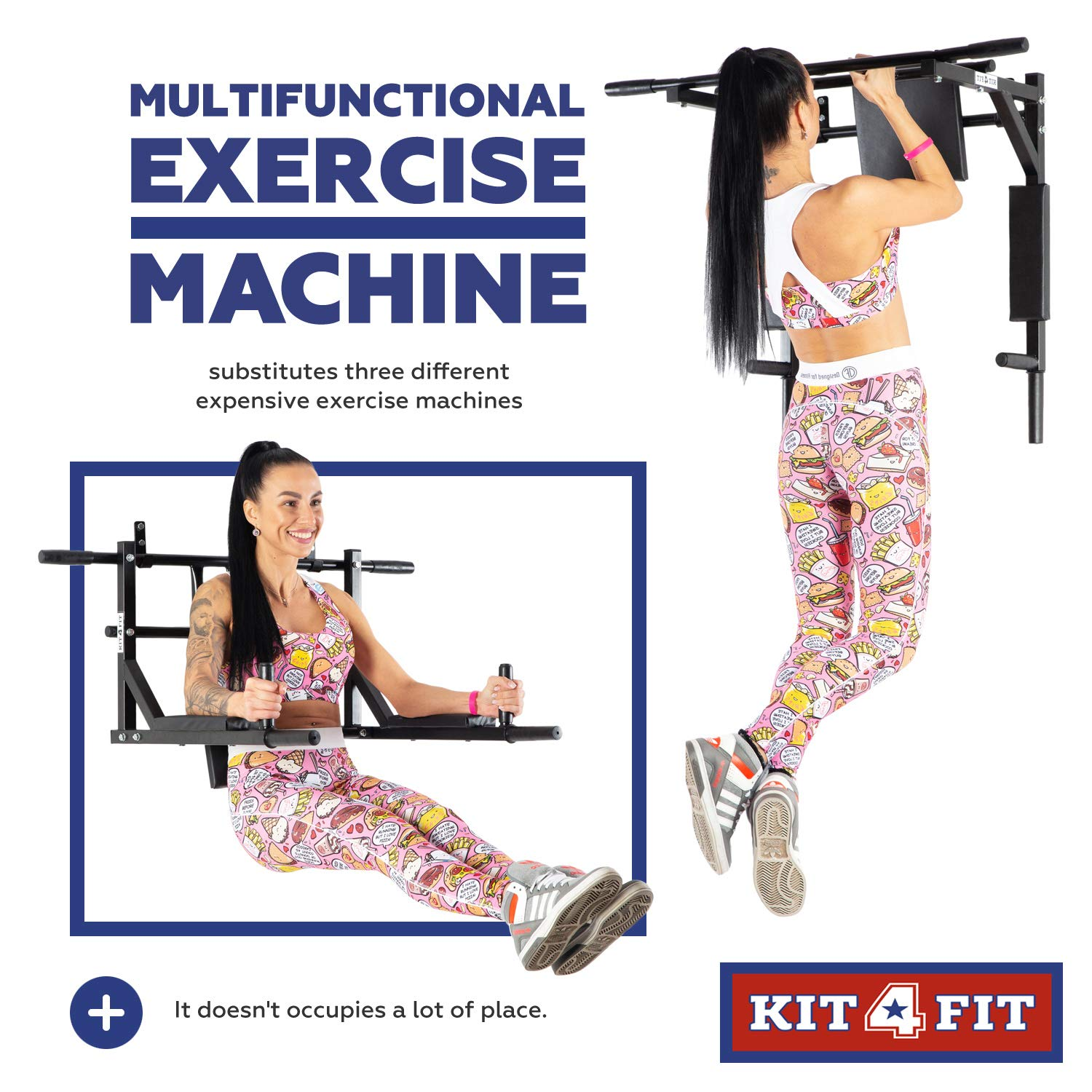 Wall Mounted Pull Up Bar and Dip Station with Vertical Knee Raise Station Indoor Home Exercise Equipment for Men Woman and Kids Great for Workout and Fitness (Black) by Kit4Fit (Image #4)