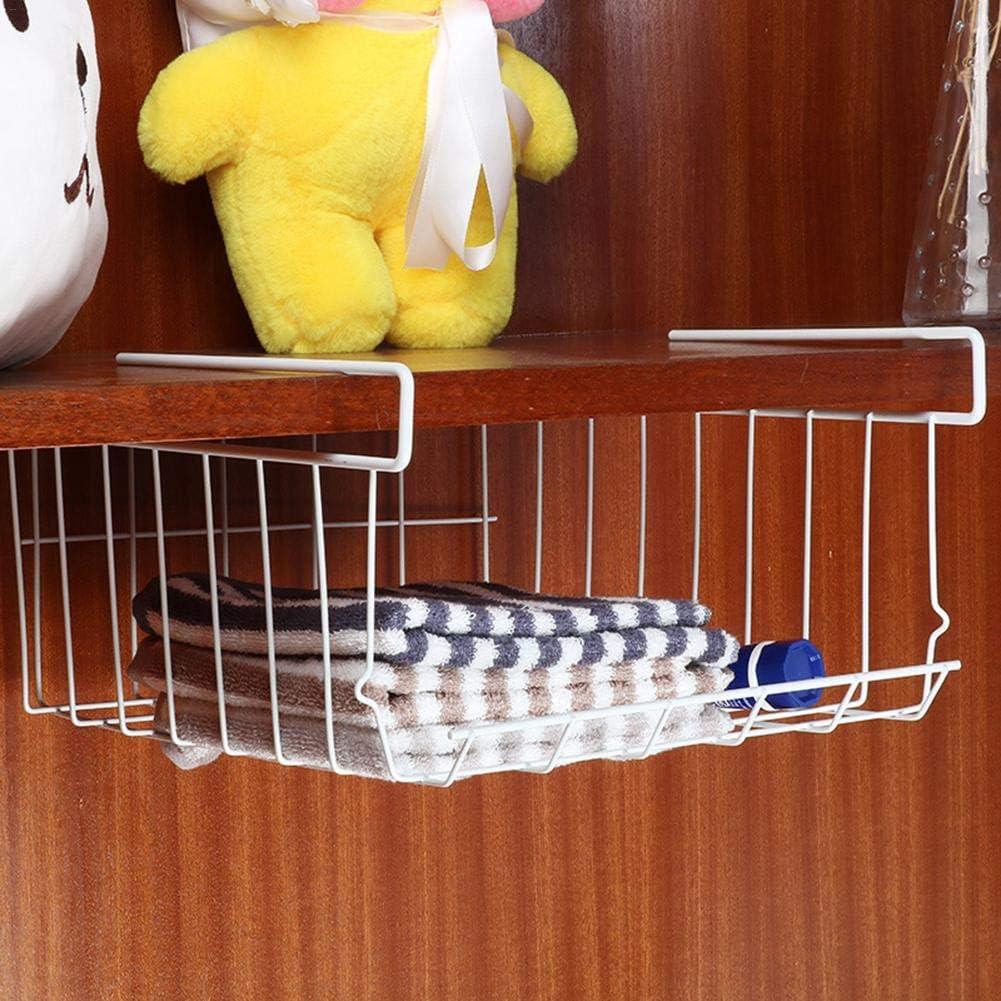 Cesta de almacenamiento multifuncional para debajo del estante resistente al /óxido apilable blanco ahorro de espacio cabe en cualquier armario perfecta para cocina muy resistente y ligera