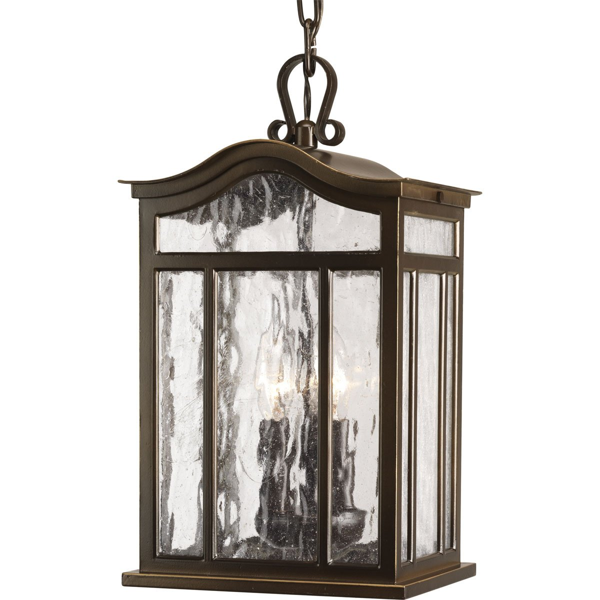 Progress Lighting P5502-108 3-Light Outdoor Hanging Lantern with Unique Arched Roof and Top Ribbon Scrolled Loops with Arching Arms, Oil Rubbed Bronze