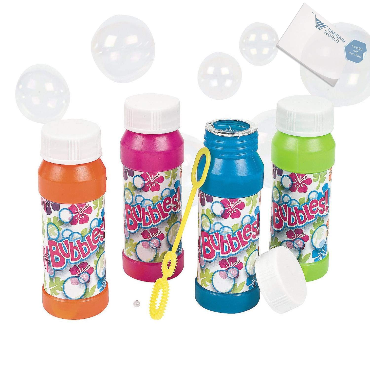 Bargain World Plastic Tropical Bubble Bottles (With Sticky Notes) by Bargain World (Image #1)