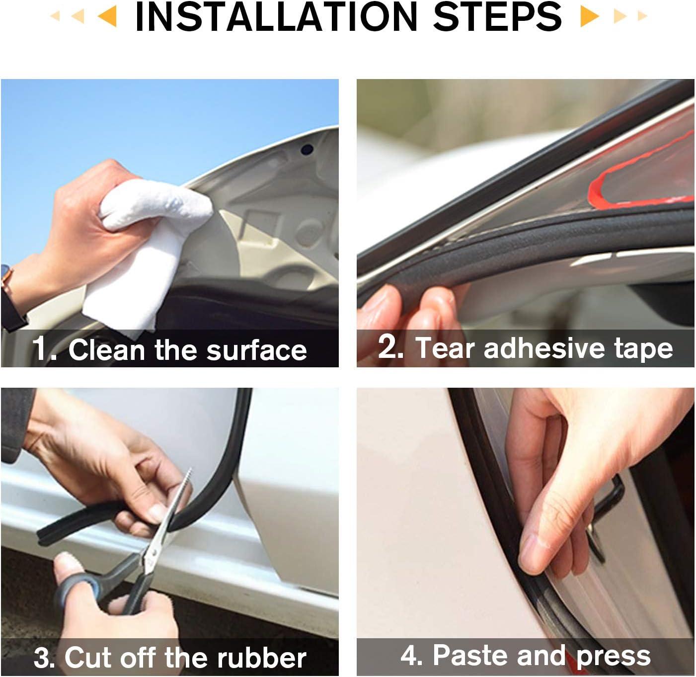 2 Pack JMgist Total 32.8 Ft Automotive Seal Strip Rubber Edge Weatherstrip for Car Window Door Protector Soundproofing Engine Cover Trim B Shape