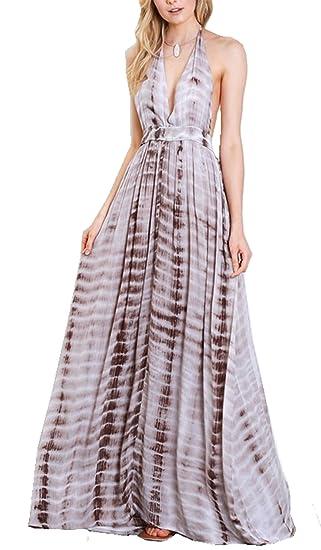 2fc724b83a5 Wishlist Womens Tie Dye Plunge Cami Maxi Dress-Mocha-Medium at Amazon  Women's Clothing store: