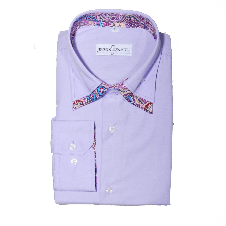Herren Hemd, 100% Baumwolle, regulŠre Passform, bedruckt mit floralem Paisley-Muster, S M L XL 2XL 3XL 4XL, Kragenweite 37Ð48 cm Herrenhemd reguläre Passform Größe S-XXXXL Lilac DC