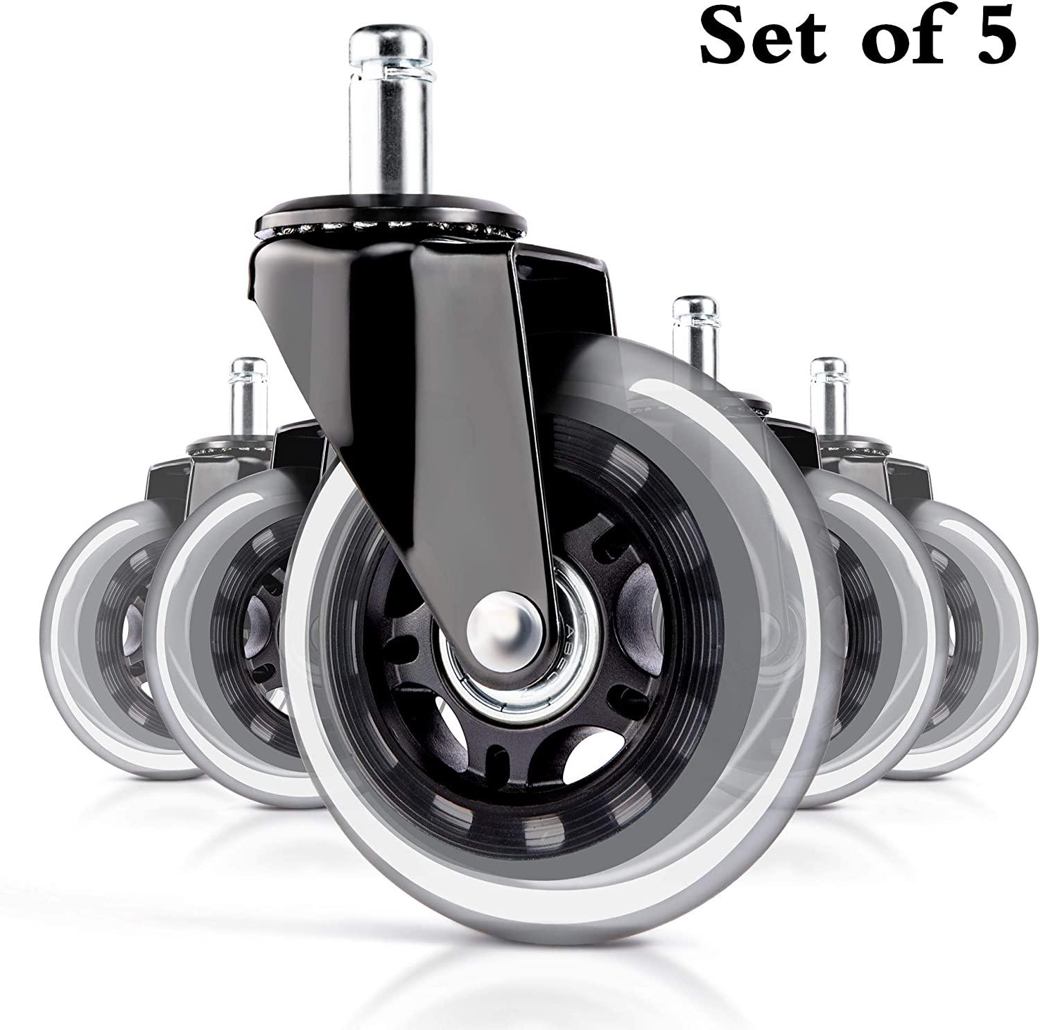 Office Chair Casters Wheels Set of 5 Replacement Rubber Chair Casters for Hardwood Floors and Carpet,Protect Your Floor - Quick & Quiet Rolling Over The Cables-Universal Fit