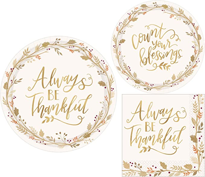 Thanksgiving Fall Always Be Thankful Party Paper Plates And Napkins Bundle Party Pack Includes Disposable Dinnerware Plates Dessert Plates And Napkins Kitchen Dining Amazon Com