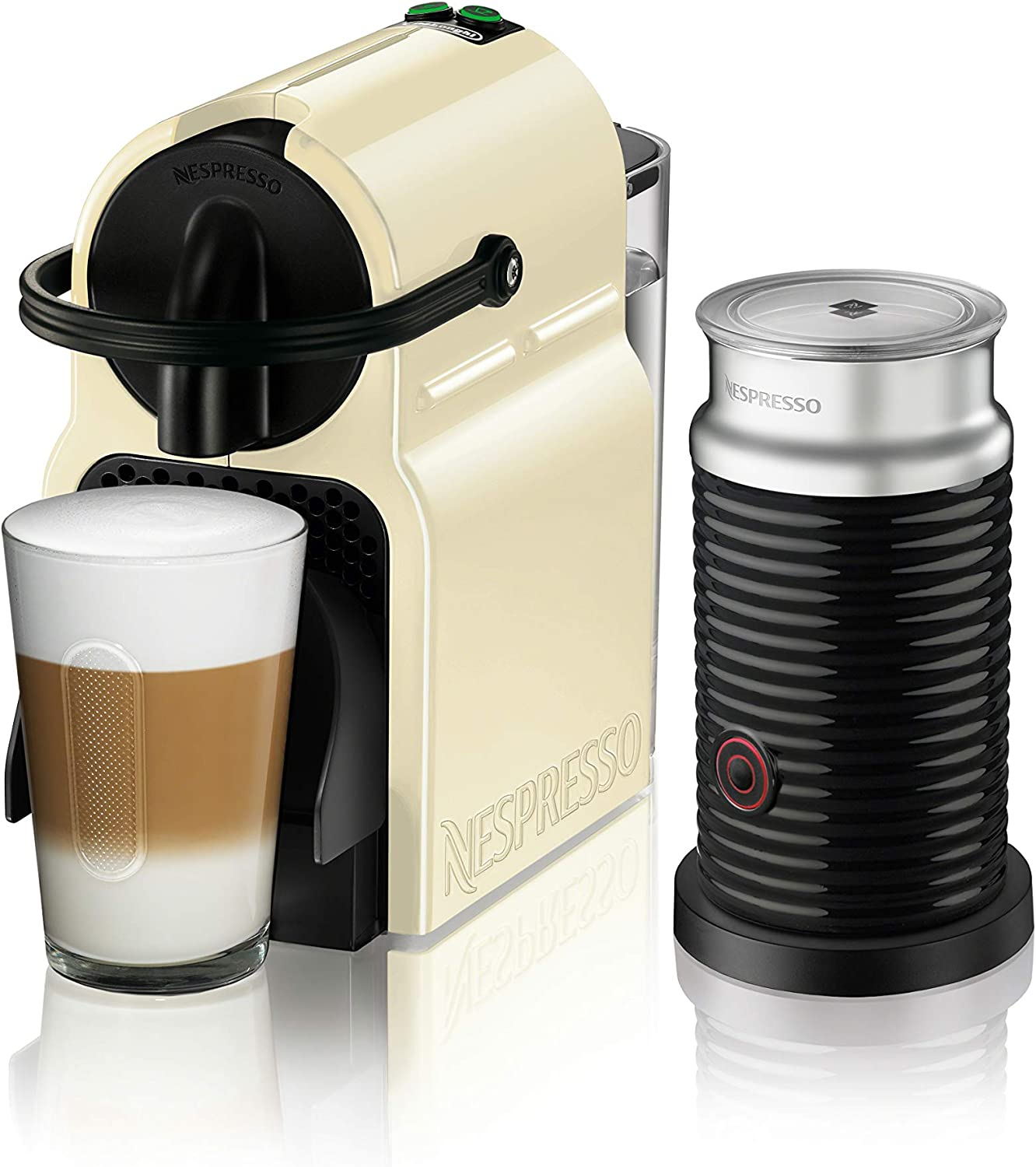 Nespresso by De'Longhi Nespresso Inissia Original Espresso Machine Bundle with Aeroccino Milk Frother by De'Longhi, Creamy White