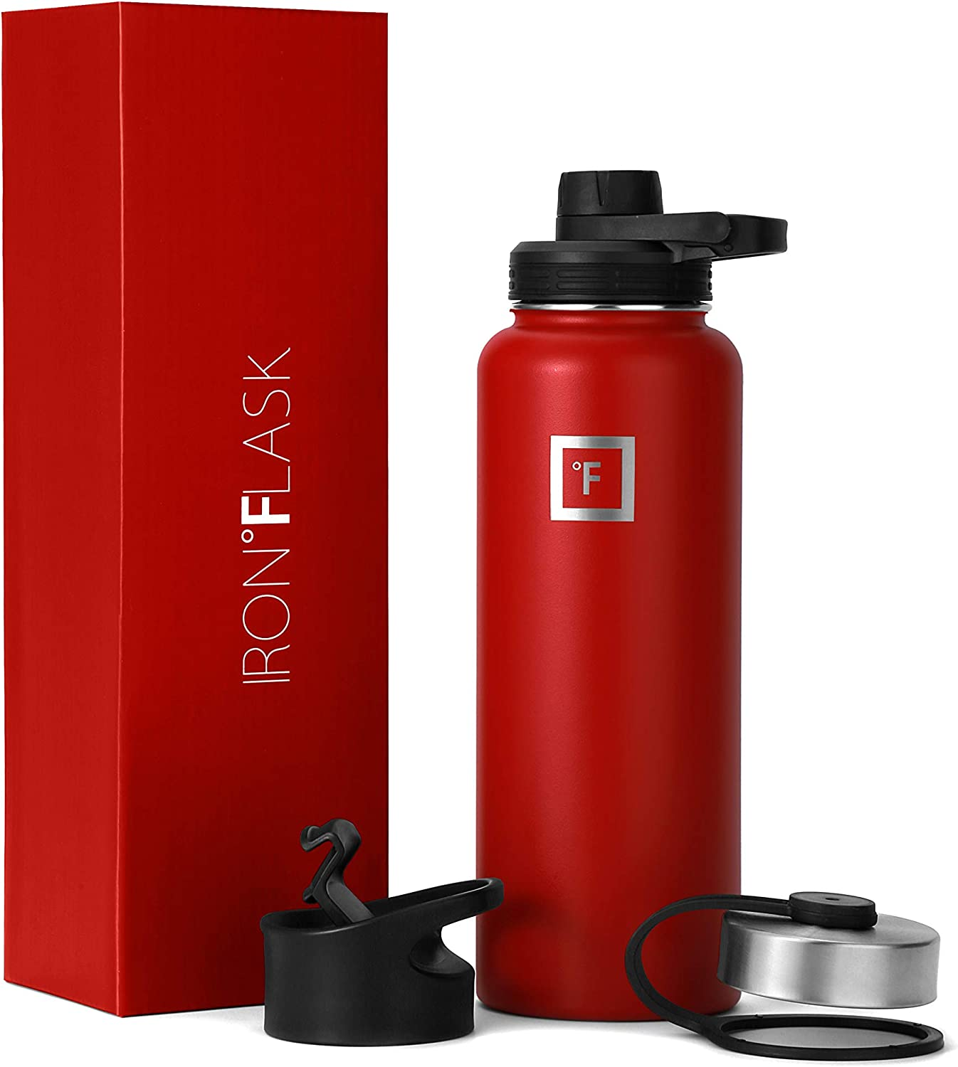 IRON °FLASK Sports Water Bottle - 40 Oz, 3 Lids (Spout Lid), Vacuum Insulated Stainless Steel, Hot Cold, Modern Double Walled, Simple Thermo Mug, Hydro Metal Canteen (Red)