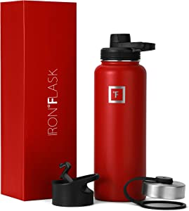 IRON °FLASK Sports Water Bottle - 14oz, 18oz, 22oz, 32oz, 40oz, or 64oz, 3 Lids (Spout Lid), Vacuum Insulated Stainless, Modern Double Walled, Simple Thermo Mug, Hydro Metal