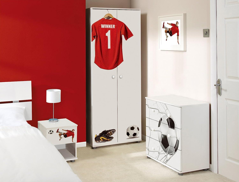 Red Football Design Childrens/Kids White Bedroom Furniture Sets ...