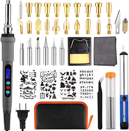 Upgraded Wood Burning Kit Carrying Case Stencil Pyrography Pen with Variable Temperature Control Include Carving//Embossing//Soldering Tips+ Wood Burning Pen Stand
