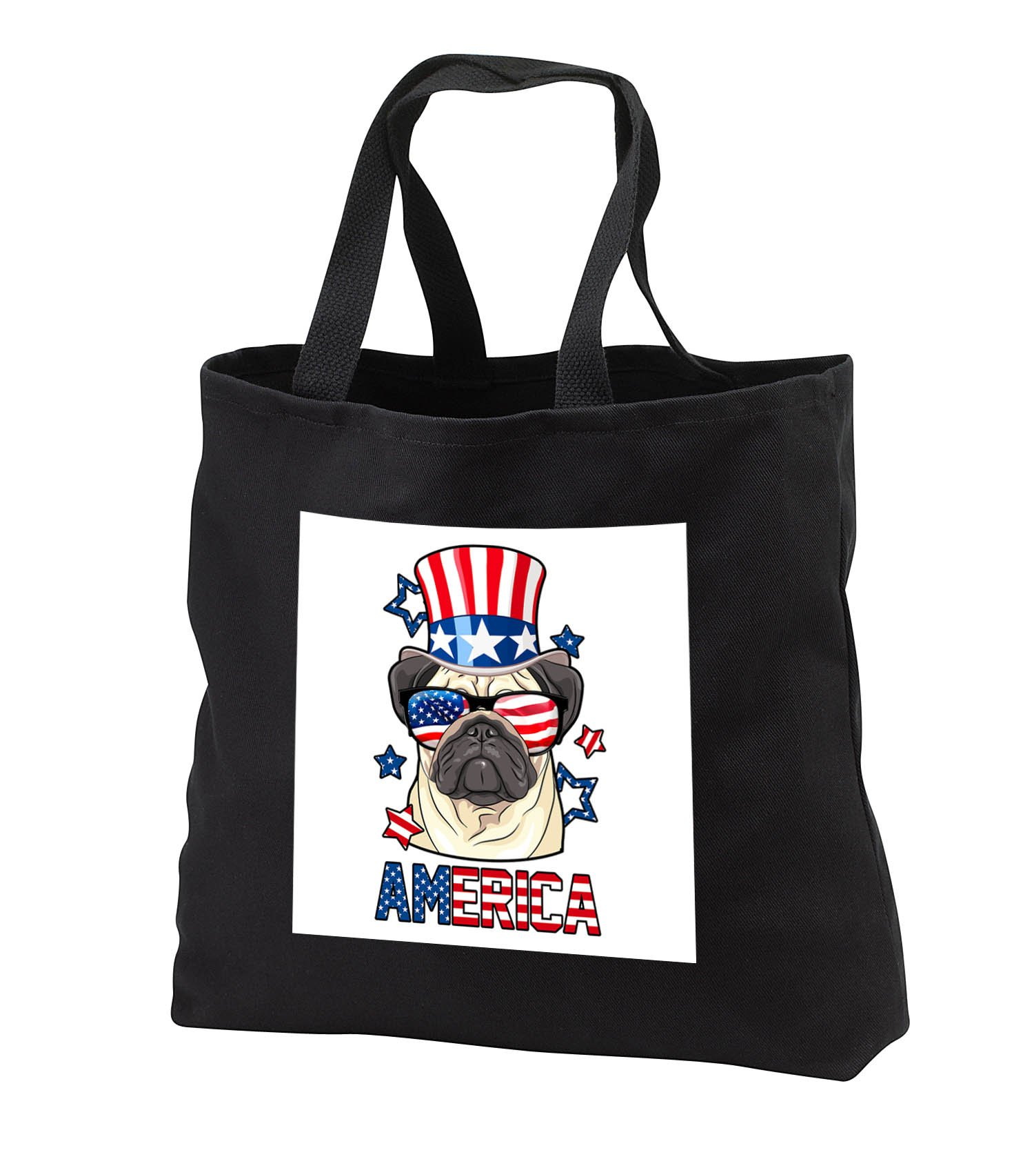 Patriotic American Dogs - Pug With American Flag Sunglasses and Tophat Dog America - Tote Bags - Black Tote Bag JUMBO 20w x 15h x 5d (tb_284221_3)