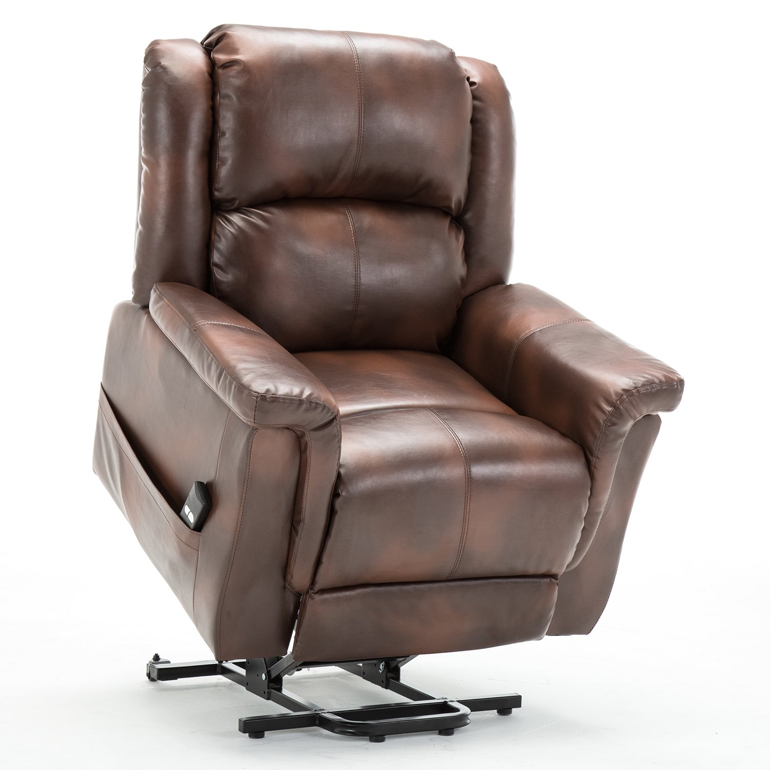 ComHoma Power Lift Recliner Chair with Heated Massage Electric Lounge Living Room Sofa Luxurious Bonded Leather Easy Care for Elderly with Remote(BROWN)