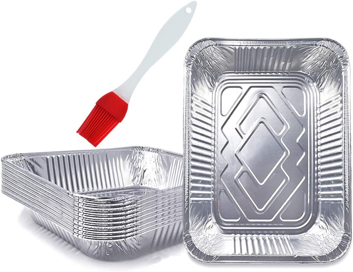QAQGEAR 12.75 x 10.25'' 118 oz Aluminum Pans Foil Pans Disposable Food Containers Great for Roasting Turkey, Baking, or Cooking, Extra Heavy Duty, with Silicone Baking Brush