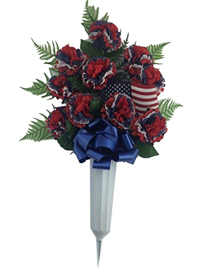 Amazon graveside floral arrangements cemetery wreaths vases and graveside floral arrangements cemetery wreaths vases and stakes memorial vase with flowers red white mightylinksfo