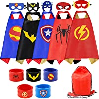 RioRand Superhero Capes 5PCS Kids Costumes with Masks and Slap Bracelets Original Logo for Boys Dress Up Party Favors…
