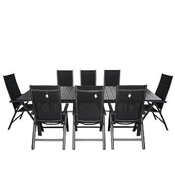 Gartengarnitur Aluminium Gartentisch Ausziehbar Mit Polywood   Tischplatte  220/280x95cm Alu Hochlehner 4x4