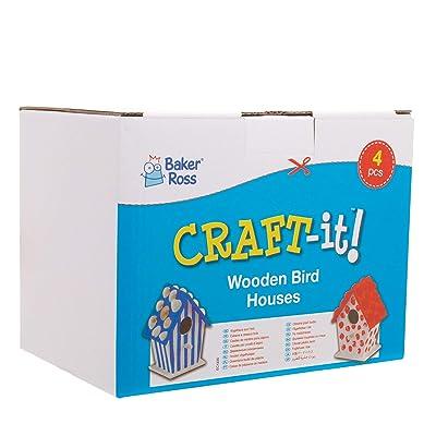 Baker Ross Casitas de madera para pájaros (Paquete de 4) Para pintar y decorar con niños: Hogar