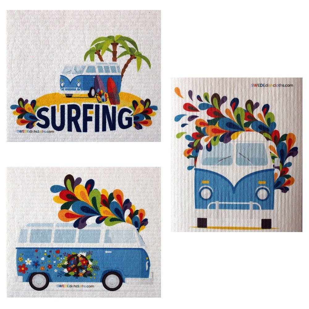 Mixed Hippie Bus Set of 3 each Swedish Dishcloths | ECO Friendly Absorbent Cleaning Cloth | Reusable Cleaning Wipes