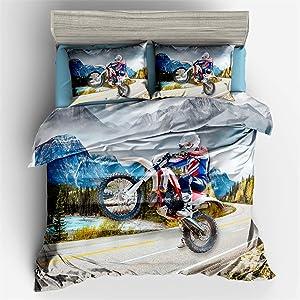 Helehome Decor Duvet Cover Set Full Size Motorbike Motocross Cartoon Funny for Kids Boys 3 Piece Brushed Microfiber Fabric Print Bedding Set