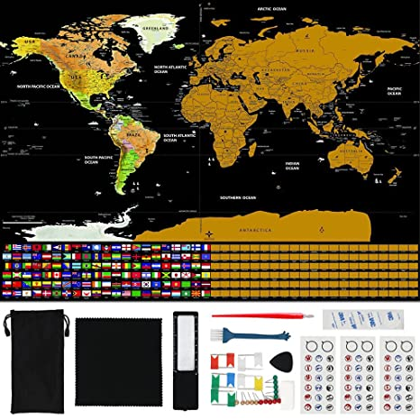 Amazon axpower scratch off world map travel poster scratch art axpower scratch off world map travel poster scratch art note with us states country flags gumiabroncs Choice Image