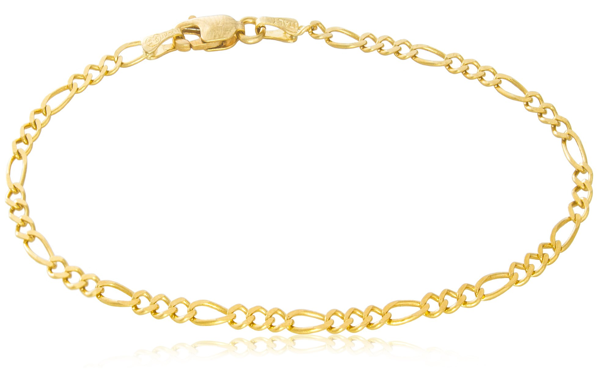 Solid Gold Figaro Light Chain Bracelet Made in Italy of 14K Yellow Gold 3mm Wide by 7-1/2'' Long