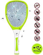 JOLVVN Raquette Anti Moustique Electrique Insectes Tapette à Mouche Efficace,3 Couches Protection en Maille,USB Rechargeable,Tue Mouche Electrique Répulsifs À Mouches/Guêpes/Insectes
