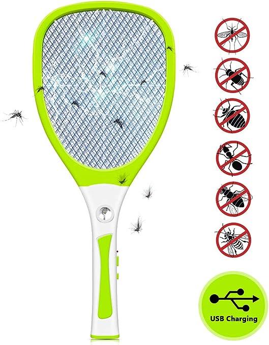 Deckey Racchetta Zanzare Elettrica Swatter Zapper Ricaricabile USB Racchetta Anti zanzare e Insetti Volanti con Maglia a Triplo Strato Illuminazione a LED