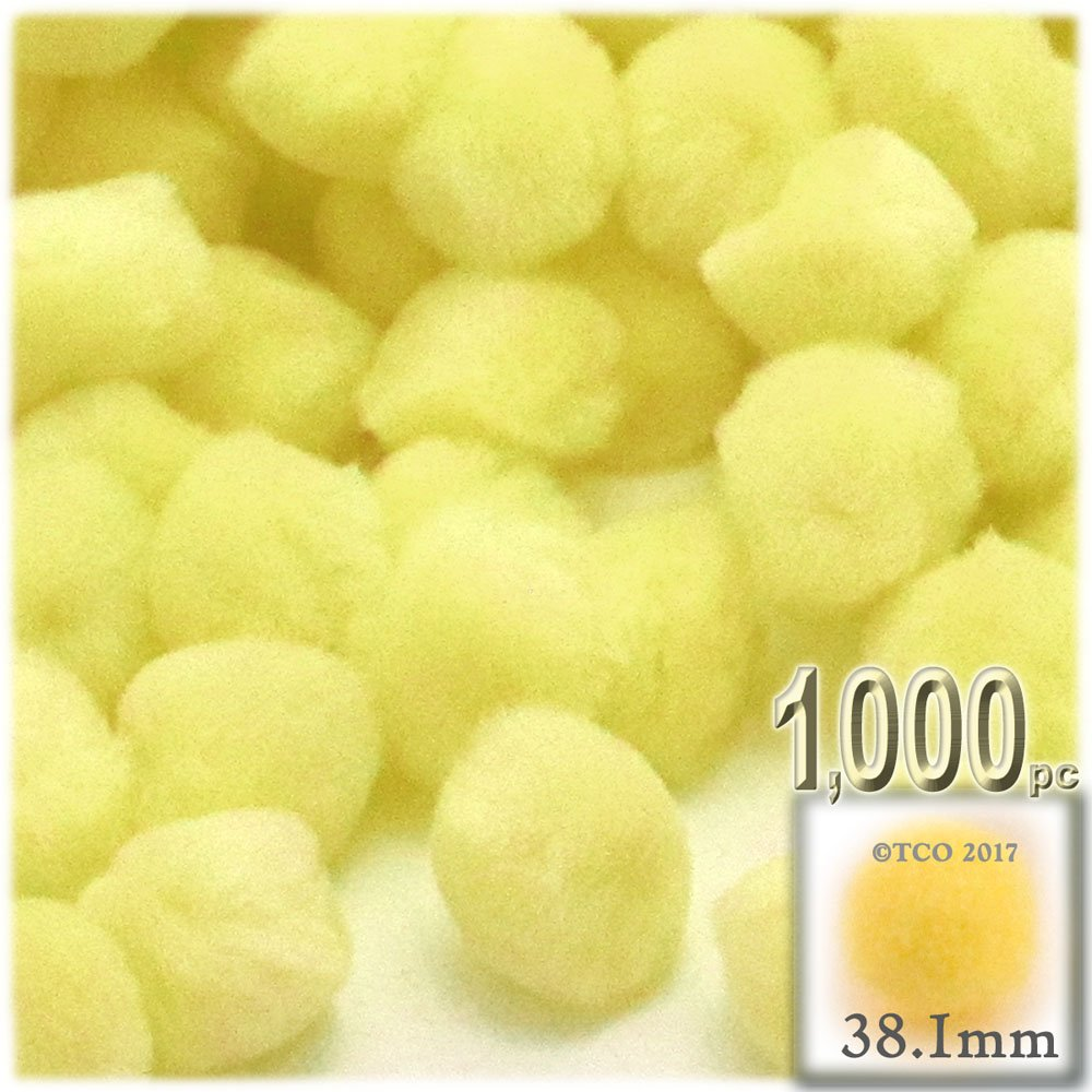 The Crafts Outlet 1,000-Piece Multi purpose Pom Poms, Acrylic, 38mm/about 1.5-inch, round, Yellow