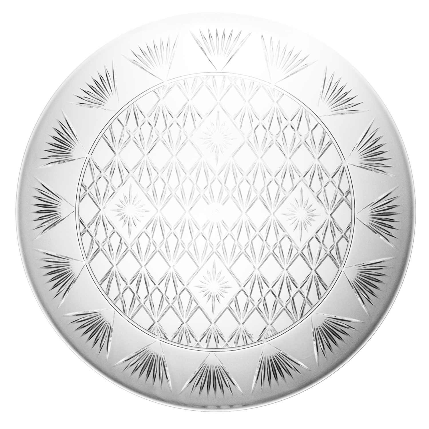 Party Essentials N1612 Heavy Duty Diamond Cut Plastic Round Tray, 16'' Diameter, Crystal Clear (Case of 12)