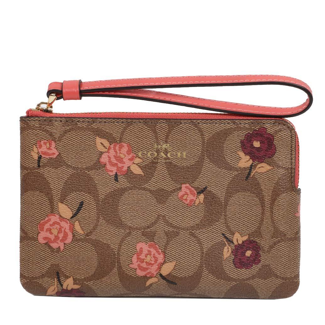 Coach Crossgrain Leather Corner Zip Wristlet Wallet (Khaki Pink Multi)